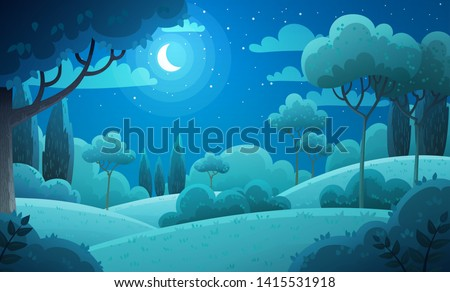 Vector illustration background of the Italian countryside. Hill landscape with pines and cypresses. Night scenery with moon and stars in dark blue sky.