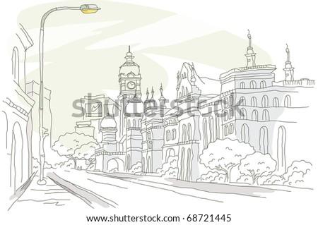 vector illustration background old street - stock vector