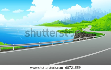 vector illustration background seaside driving