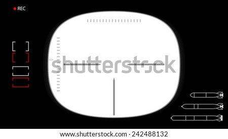 Vector illustration / background. Template for footage - the viewfinder submarine periscope. T?ransparent center. Simply place the workpiece to your video footage down.