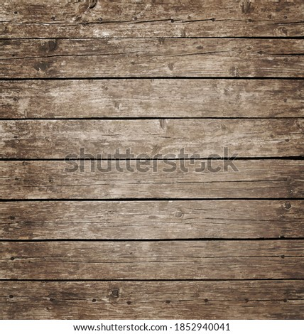 Vector illustration background texture of grunge weathered vintage brown knotty wooden planks Stock photo ©