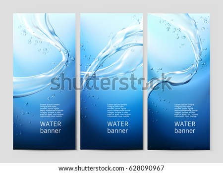 Vector illustration background with flows and drops of crystal clear water of light blue color