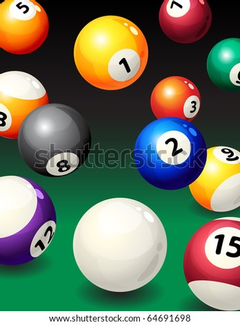 Vector illustration - background with pool balls