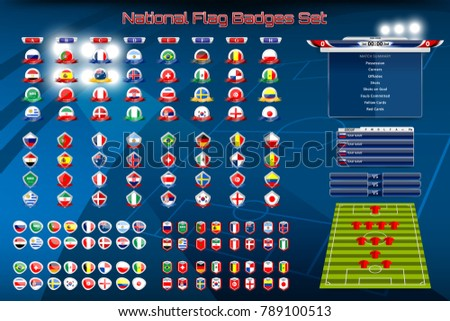 Vector illustration badges Set of National Flag with Scoreboard Broadcast and Lower Thirds Template for Sport, Soccer and Football tournament