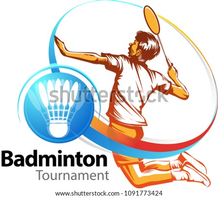 Vector illustration, Badminton tournament event symbol