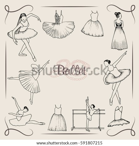 vector  illustration ;  ballet dancer silhouette