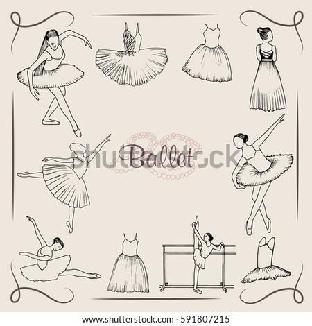 vector  illustration ;  ballet dancer silhouette