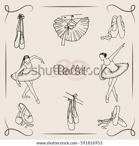 Vector  illustration. Ballet dancer silhouette, point shoes, tutu skirt. Pen style vector.