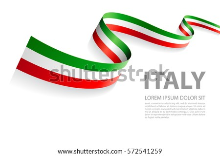 Vector Illustration Banner with Italian Flag colors in a perspective view