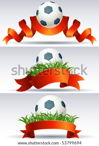 Vector illustration - banners with soccer balls and red ribbons