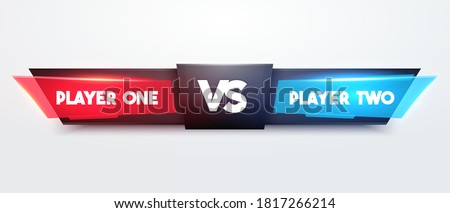 Vector Illustration Battle Scoreboard. Fight Game Interface for Player One And Two  Photo stock ©