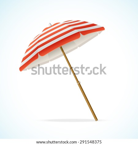 Vector illustration Beach Umbrella Red and White. The symbol of a holiday by the sea