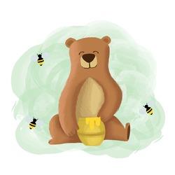 Vector Illustration Bear Eat Honey Cute Cartoon.