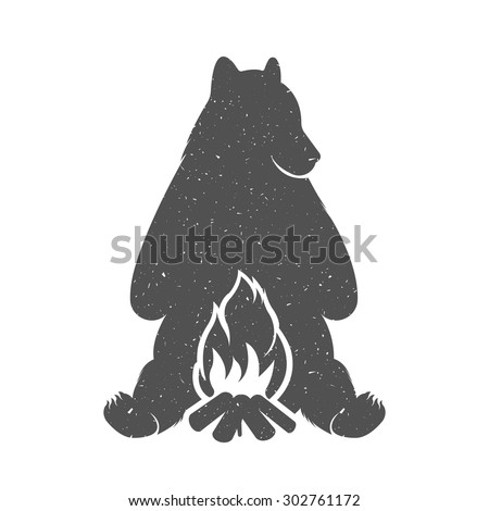 vector illustration bear hunter ...