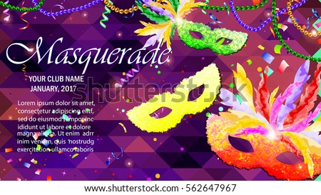 Vector Illustration. Beautiful concept design with Festive Carnival Mask, Masquerade, Mardi Gras for Night Party Poster, Dance Flyer, Carnival Invitation, Greeting card.