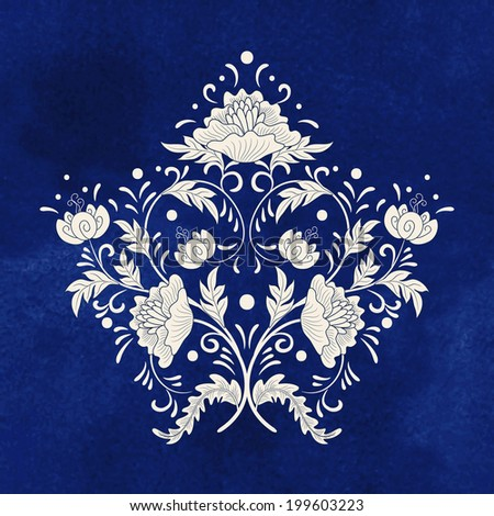 Vector illustration Beautiful floral element of pattern for your design Imitation of chinese porcelain painting Blue seamless watercolor background Hand drawing