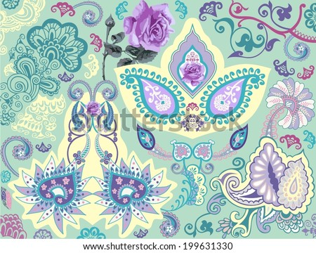 Vector illustration Beautiful oriental traditional paisley flower Roses pattern