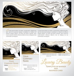 Vector illustration. Beautiful silhouette of long hair woman on black and golden background. Templates of banner and business card for beauty salons, spa, cosmetics, fashion and beauty industry.