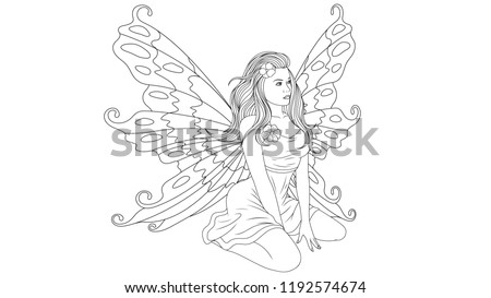 vector illustration, beautiful young fairy coloring, sitting, isolated on white background