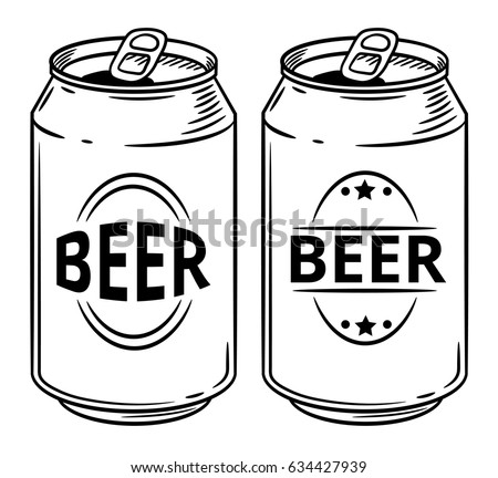 Vector illustration beer can isolated on white background. Hand drawn style sketch. For restaurant or cafe drink menu.
