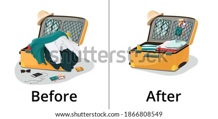 Vector illustration. Before and after packing things in travel suitcase. A pile of clothes, scattered objects. Neat packing of luggage.