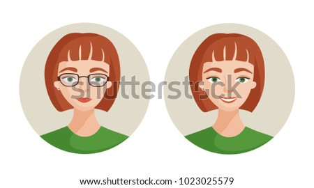 Vector illustration before and after. The girl in glasses and in lenses. Change of appearance.