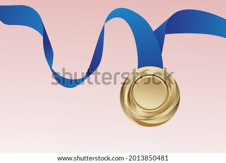 Vector illustration, best gold medal with blue ribbon, isolated on pink background.