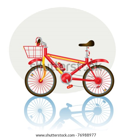 Vector illustration, bicycle icon, card concept, white background.