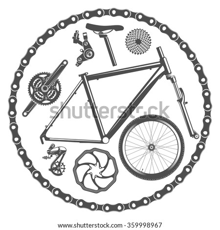 vector illustration bicycle parts in vintage style / bicycle parts isolated on white background