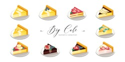 Vector Illustration Big Set of Isometric Pieces of Cakes with Sliced Fruits Isolated on White Background. Colorful. Cafe, Restaurant Menu Design Concept.