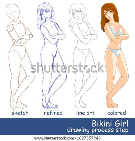 vector illustration bikini girl