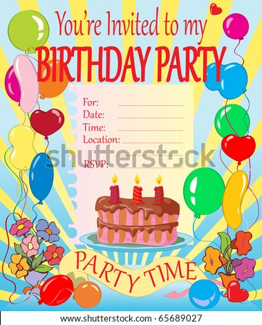 ... vector illustration, birthday party invitation for