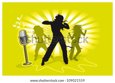 Vector illustration black and green silhouettes dancing girls on yellow background