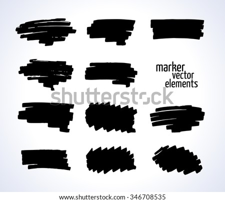 vector illustration. black and white marker stains isolated on a white background. Collection for your design