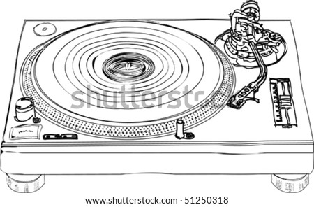 vector illustration black and white sketch of turntable