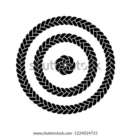 Vector illustration, black color fill, braid circles three different diameters