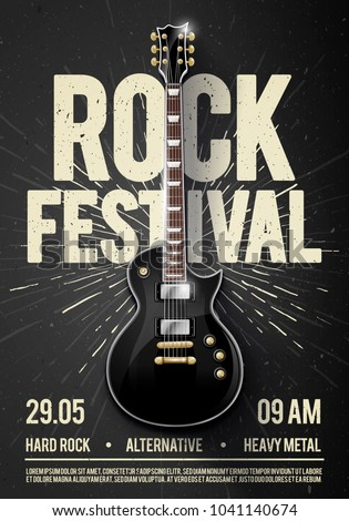 vector illustration black rock festival concert party flyer or poster design template with guitar, place for text and cool effects in the background