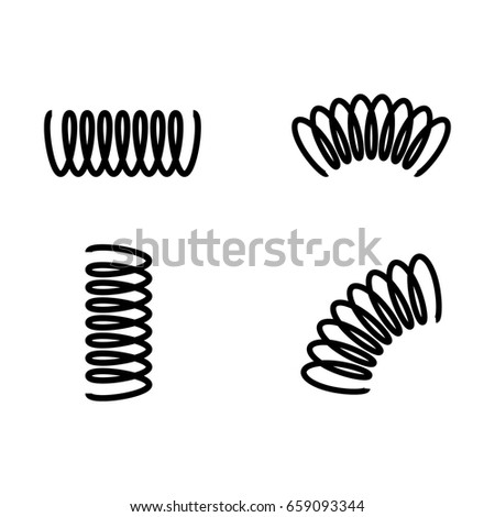 Vector illustration black silhouette of spring icon set, collection isolated on white background. Metal spiral flexible wire elastic