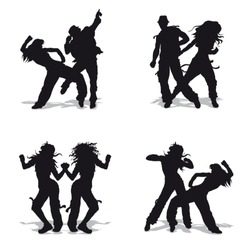 Vector illustration black silhouetts dancing couples on white background