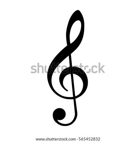 Vector illustration black treble clef isolated on white background. Music key. Musical symbol.