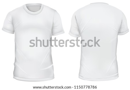 Blank Mens T Shirt Front And Back Views Gradient Mesh