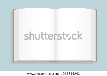 Vector illustration. Blank open book. Top view.