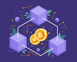 Vector illustration Blockchain concept. Blockchain technology concept, Cubic nodes connected by chain or line. Distributed database for cryptography. Vector illustration in flat style