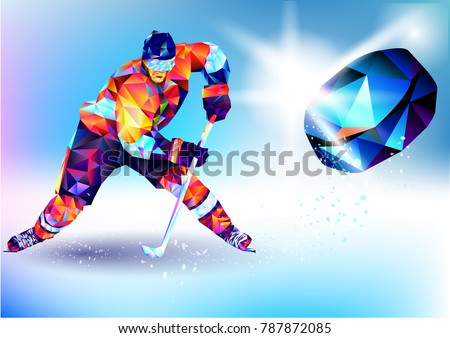 Vector illustration blue background in a geometric triangle of XXIII style Winter games. Olympic hockey on ice arena from triangle silhouette
