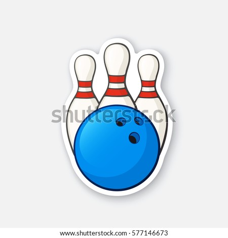 Vector illustration. Blue bowling ball and pins. Sports equipment. Cartoon sticker in comics style with contour. Decoration for greeting cards, posters, patches, prints for clothes, emblems
