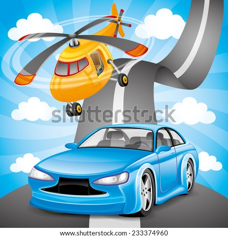 vector illustration blue car