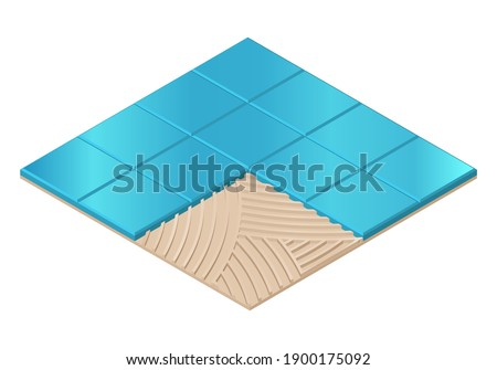Vector illustration blue ceramic tiles installing with adhesive. Realistic tiles and tile adhesive in flat cartoon style. Tile glue for laying tiles on floors and walls. Construction material.