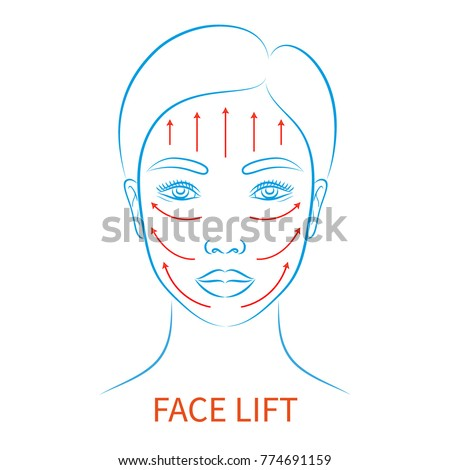 Vector illustration: blue contour hand drawn asian female face plastic surgery icon with inscription Face lift isolated on white background