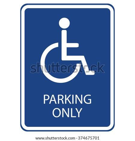 Vector illustration blue handicap car parking or wheelchair parking space sign.