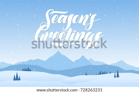 Shutterstock Vector illustration. Blue mountains winter snowy landscape with hand lettering of Seasons Greetings.